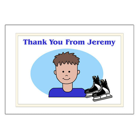 Ice Hockey Kid Thank You Note Cards