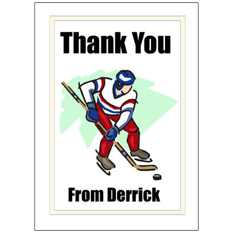 Hockey Player Thank You Note Cards