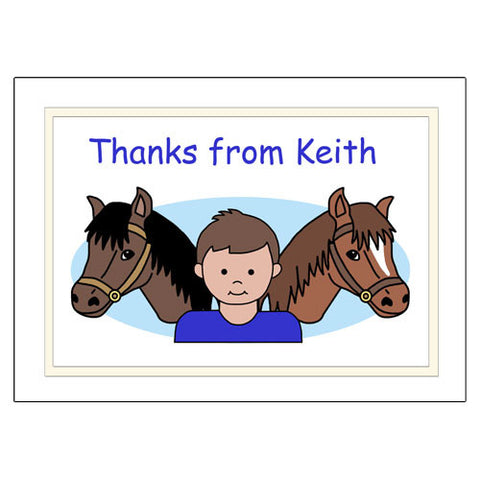 Horse Kid Note Cards - Boy