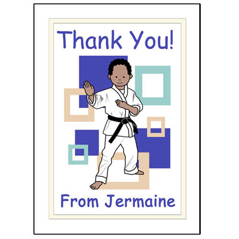 Martial Arts or Karate Kid Thank You Note Cards - Boy