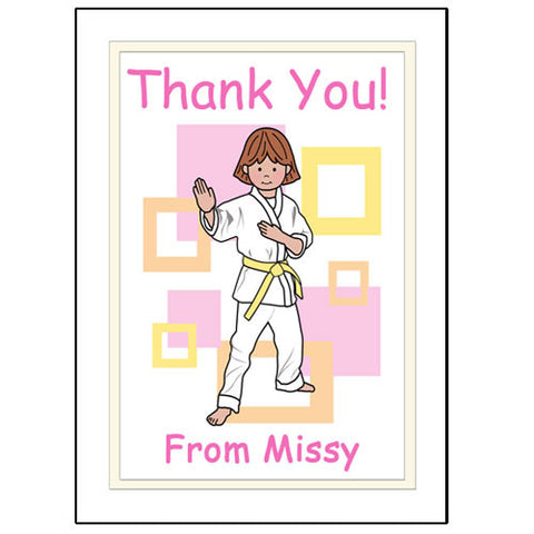 Martial Arts or Karate Kid Thank You Note Cards - Girl