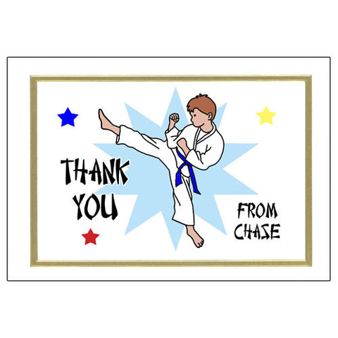 Karate or Martial Arts Boy Thank You Note Cards - Kick Design