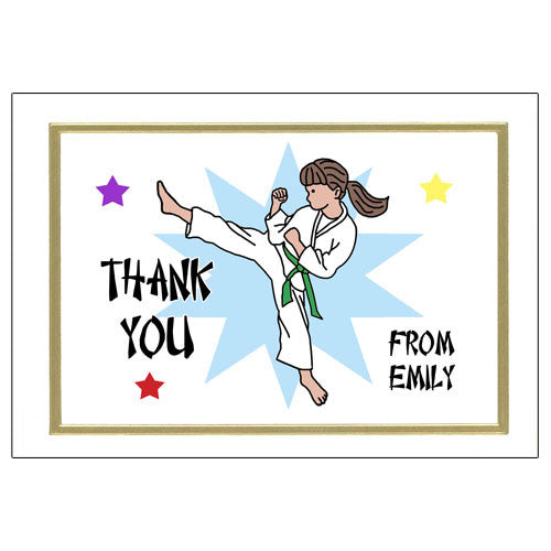 Karate or Martial Arts Girl Thank You Note Cards - Kick Design