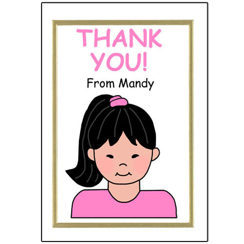 Cartoon Family Thank You Note Cards - 1 person