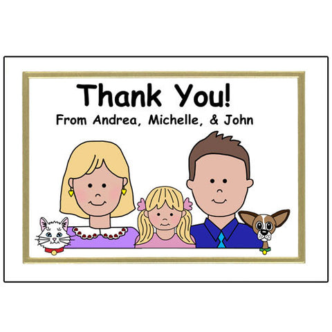 Cartoon Family Thank You  Note Cards - up to 5 people or pets