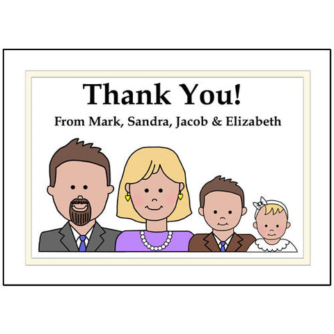Baptism & Christening Thank You Note Cards - Cartoon Family Design
