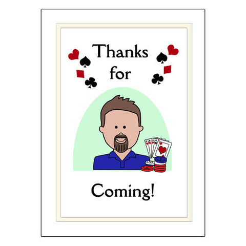 Cartoon Person Poker Party or Texas Hold Em Thank You Note Cards
