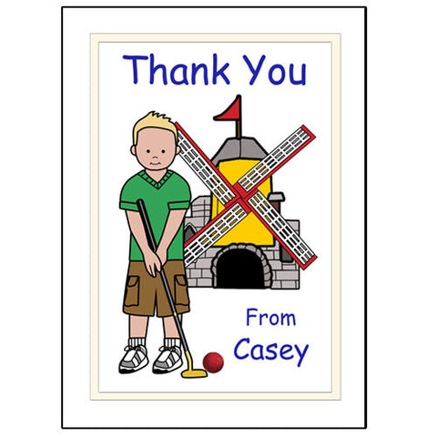 Mini Golf Thank You Note Cards (Design 2) - Boy