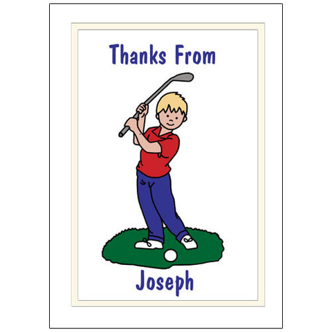Mini Golf Thank You Note Cards - Boy
