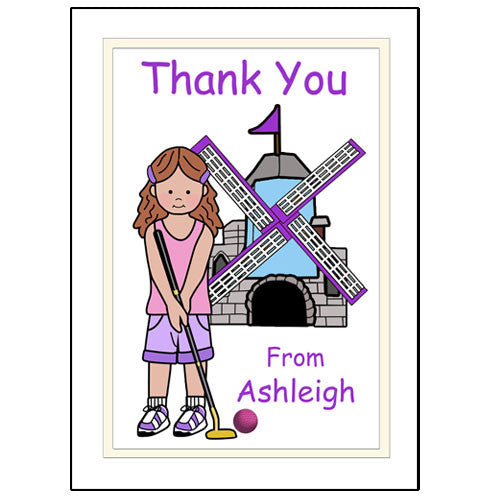 Mini Golf Thank You Note Cards (Design 2) - Girl