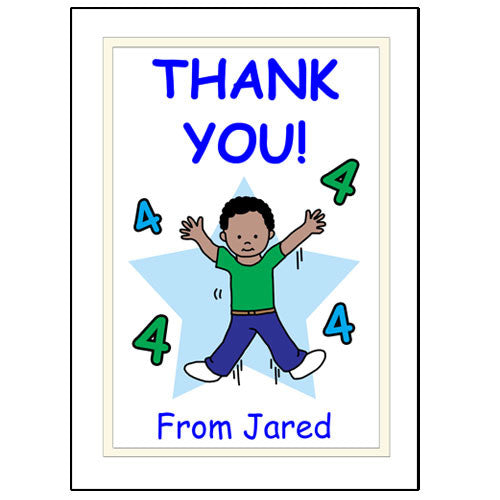 Number Birthday Thank You Note Cards - boy