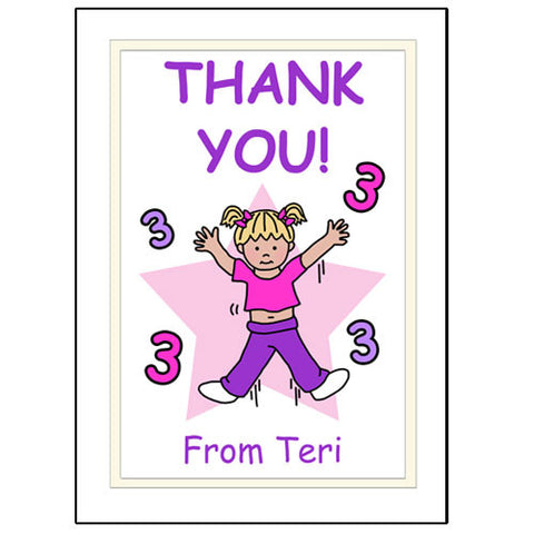 Number Birthday Thank You Note Cards - Girl