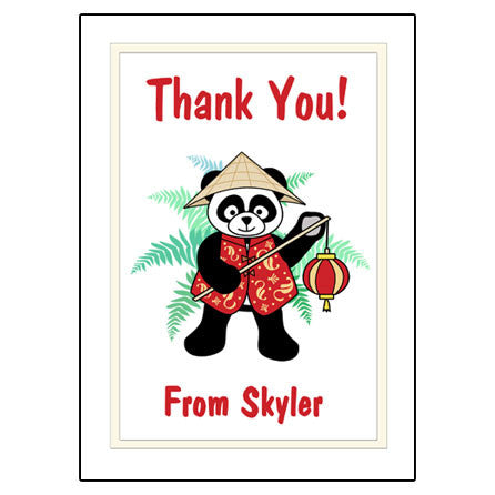 Asian Lantern Panda Thank You Note Cards