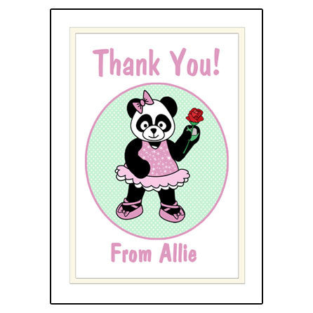 Ballet or Dance Thank You Note Cards - Panda Ballerina
