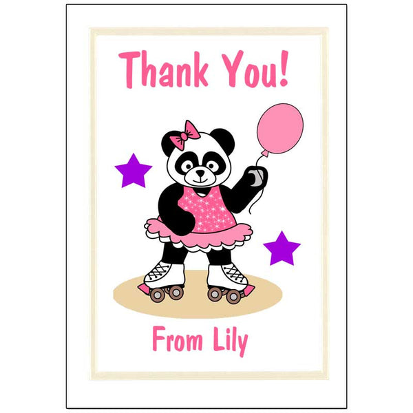 Roller Skating Panda Thank You Note Cards