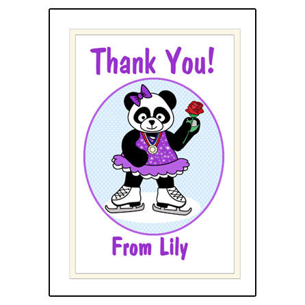 Ice Skating Panda Thank You Note Cards