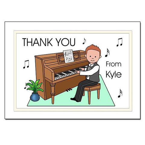 Piano Recital Boy Thank You Note Cards