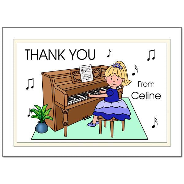 Piano Recital Girl Thank You Note Cards