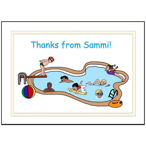 Swimming or Pool Party Thank You Note Cards