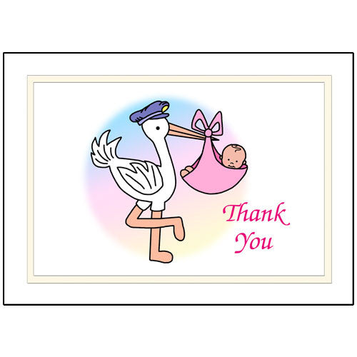 Pastel Stork Baby Girl Birth Thank You Note Cards