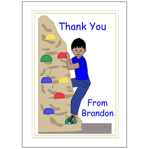 Rock Climbing Thank You Note Cards - Boy