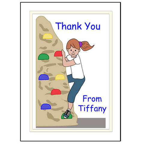 Rock Climbing Thank You Note Cards - Girl