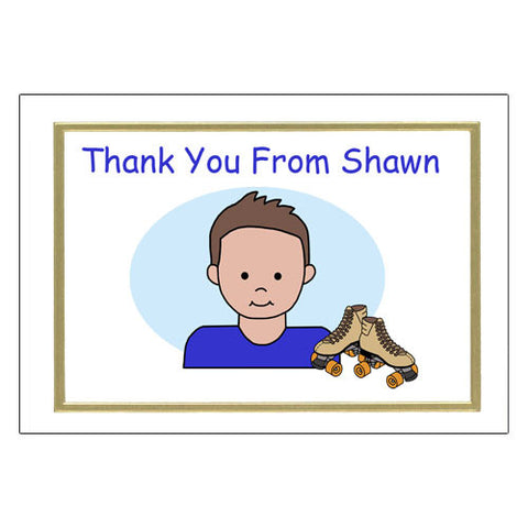 Roller Skating Kid Thank You Note Cards - Boy