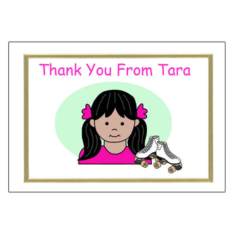 Roller Skating Kid Thank You Note Cards - Girl