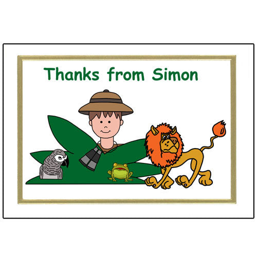 Jungle or Safari Thank You Note Cards - Boy