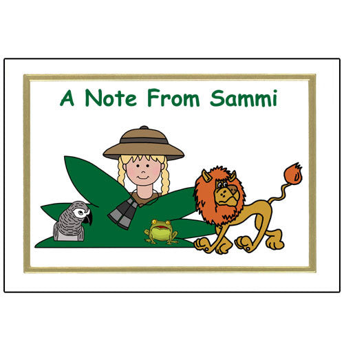 Jungle or Safari Thank You Note Cards - Girl