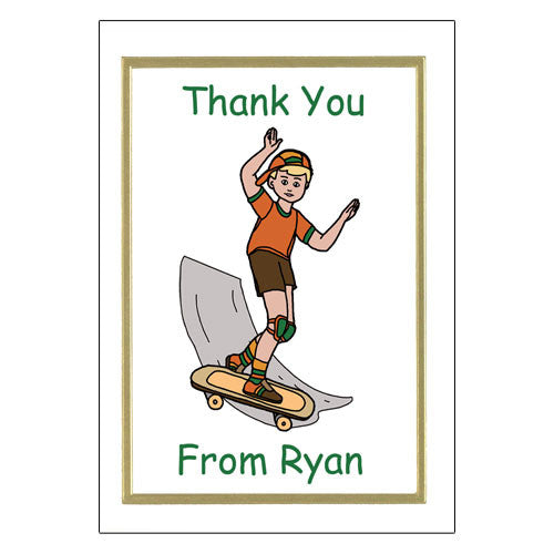 Skateboard Thank You Note Cards - Boy