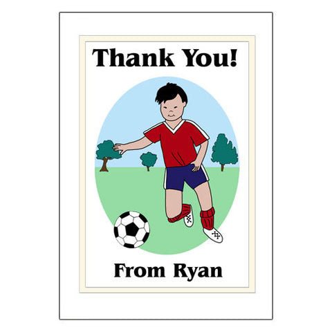 Soccer Player Thank You Note Cards - Boy