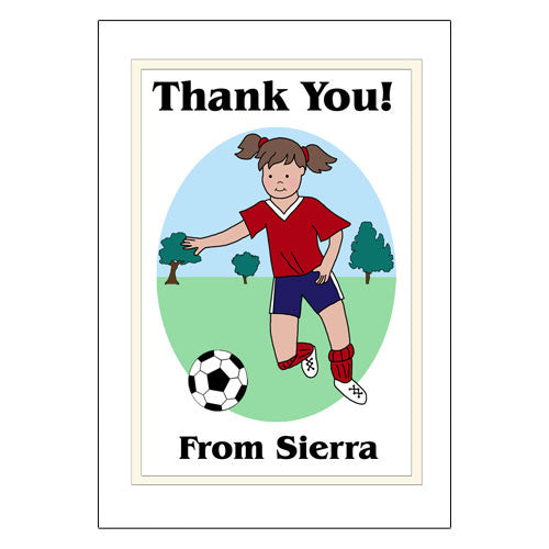 Soccer Player Thank You Note Cards - Girl