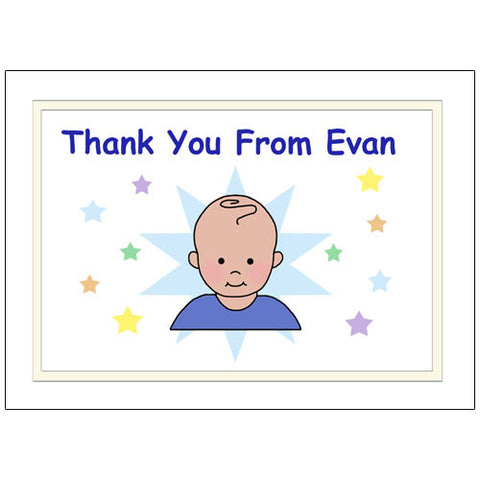 Star Baby Thank You Note Cards - Boy