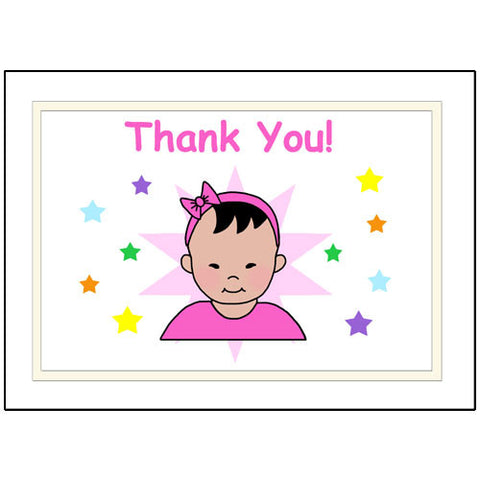 Star Baby Thank You Note Cards - Girl