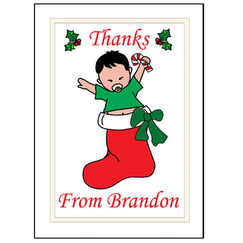 Christmas Thank You Note Cards - Baby Boy in Stocking