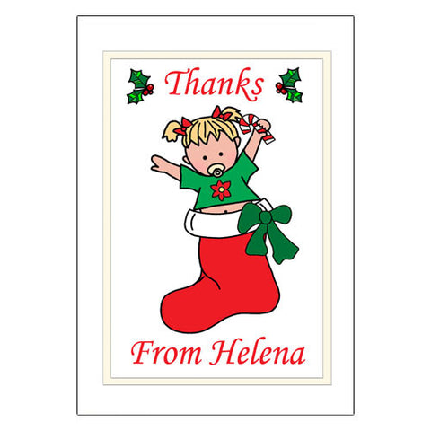 Christmas Thank You Note Cards - Baby Girl in Stocking