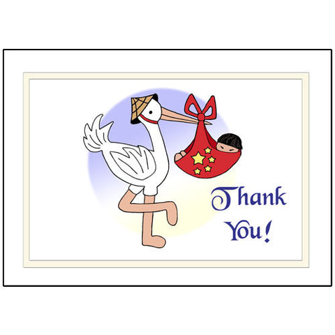 Adoption Stork Thank You Note Cards - Boy