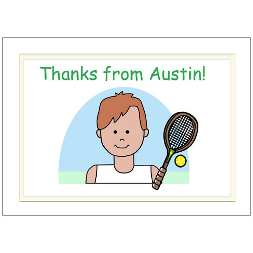 Tennis Kid Personalized Thank You Note Cards - Boy