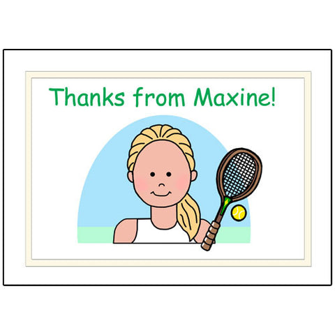 Tennis Kid Personalized Thank You Note Cards - Girl