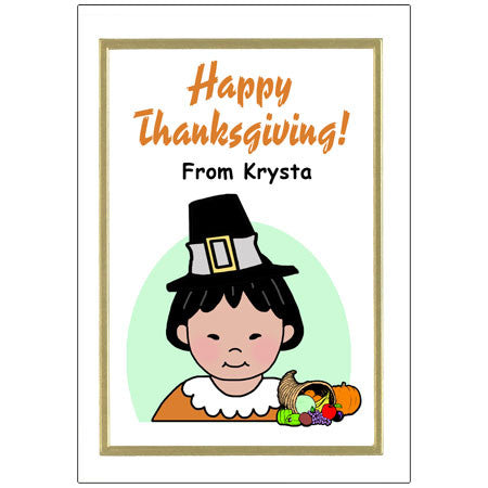 Kids Personalized Thanksgiving Cards - Girl