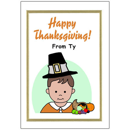 Kids Personalized Thanksgiving Cards - Boy