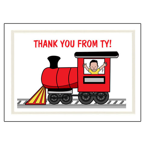 Train Thank You Note Cards - Boy