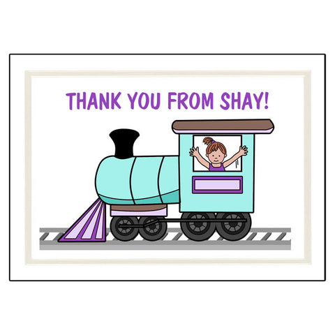 Train Thank You Note Cards - Girl