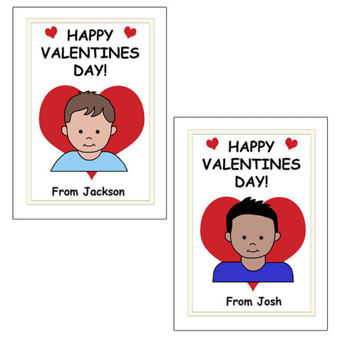 Cartoon Kid Personalized Valentines Cards - Boy