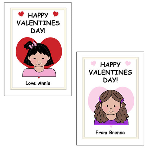 Cartoon Kid Personalized Valentines Cards - Girl