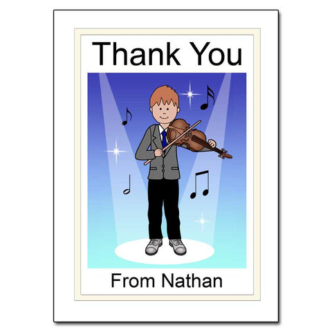 Violin Recital Boy Thank You Note Cards