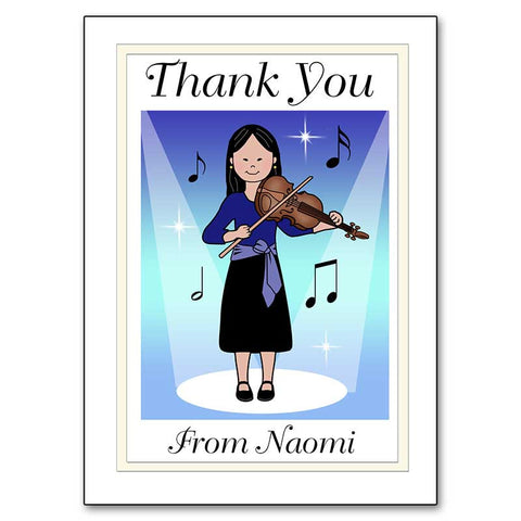 Violin Recital Girl Thank You Note Cards
