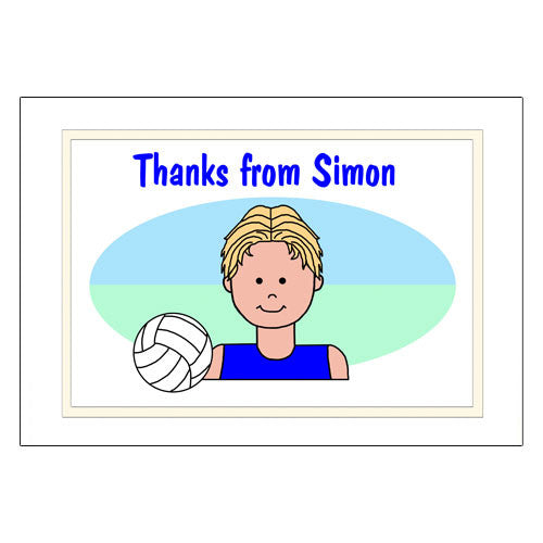 Volleyball Kid Thank You Note Cards - Boy