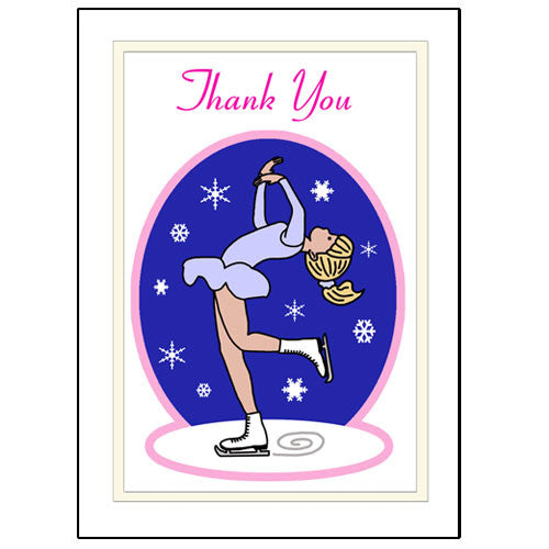 Ice Skating Thank You Note Cards - Layback Skater